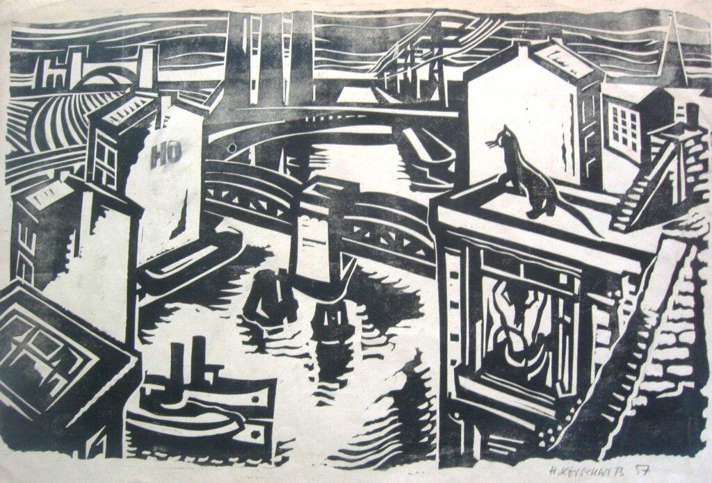 Hans Koischwitz, Berlin, linocut 1957
