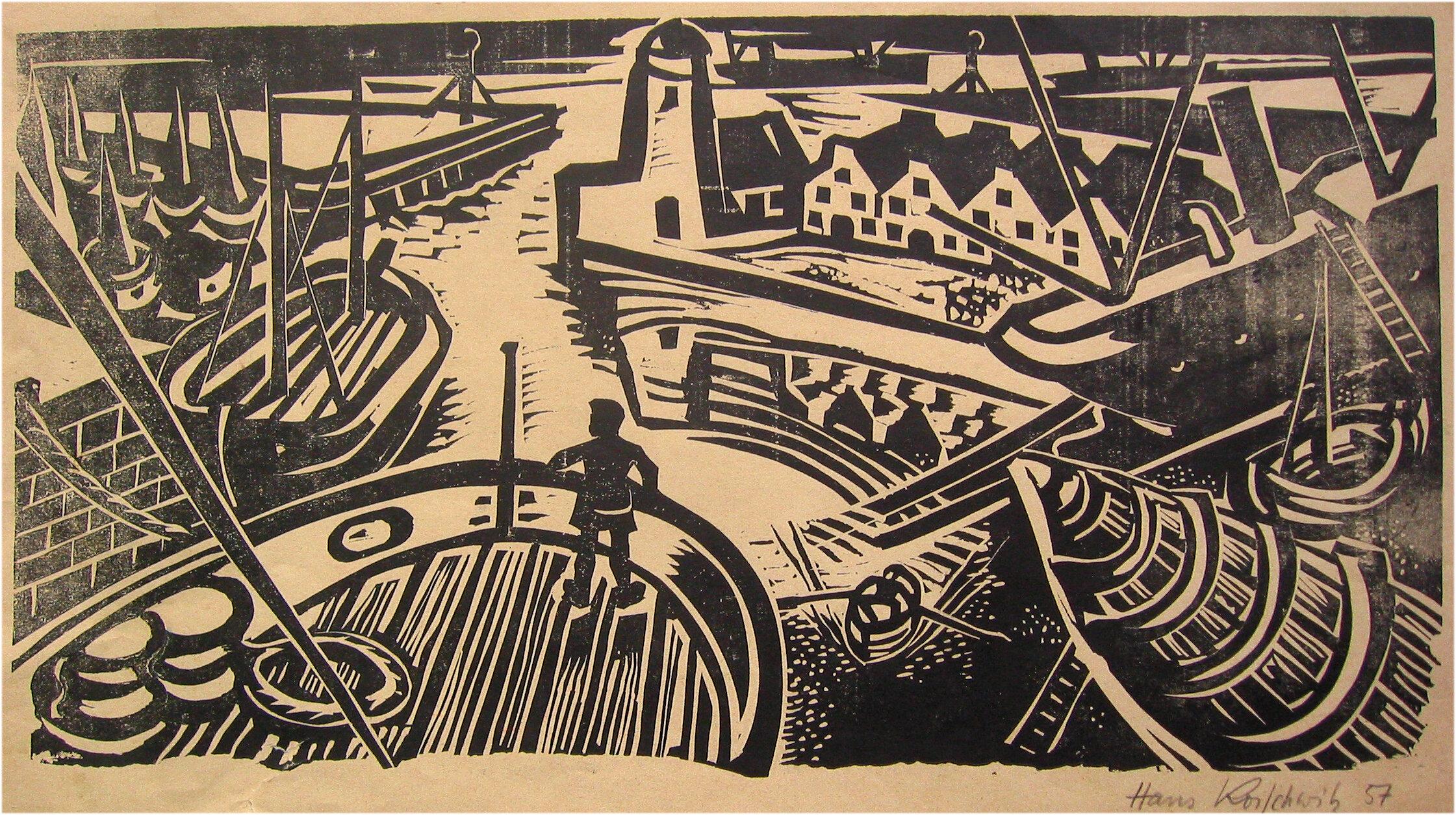 Hans Koischwitz, Hafen 1957, Linoldruck