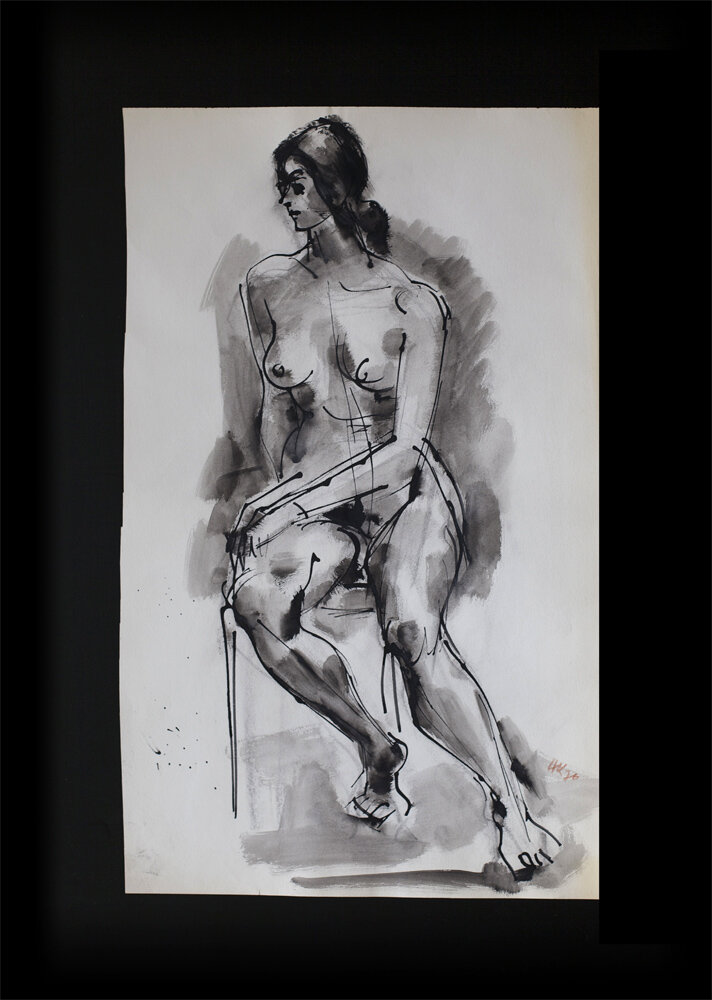 Sitting nude, bamboo pen and brush on paper1976, 59 x 35 cm,150 €