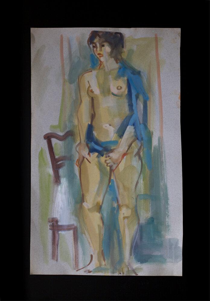 Standing nude, gouache on cardboard, 1980150 €