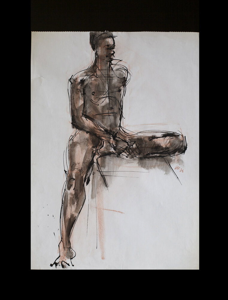 Sitting male nude, bamboo pen, ink and crayon, 58,5 x 42 cm  100 €auf Papier, 1976