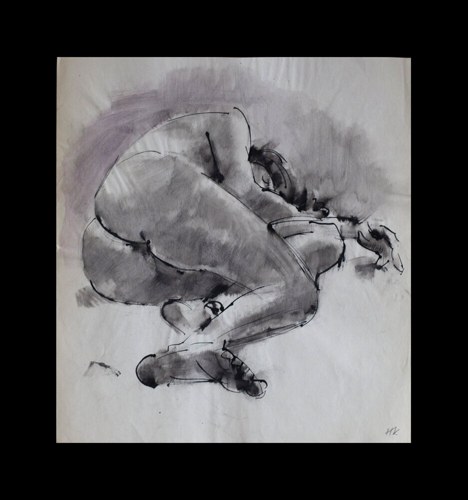nude, bamboo pen and ink  on paper, 1975, 45,5 x 41 cm, 100 €