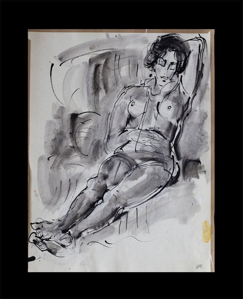 nude, bamboo pen and ink on paper, 1976, 55 x 42 cm, slightly damaged 150 €