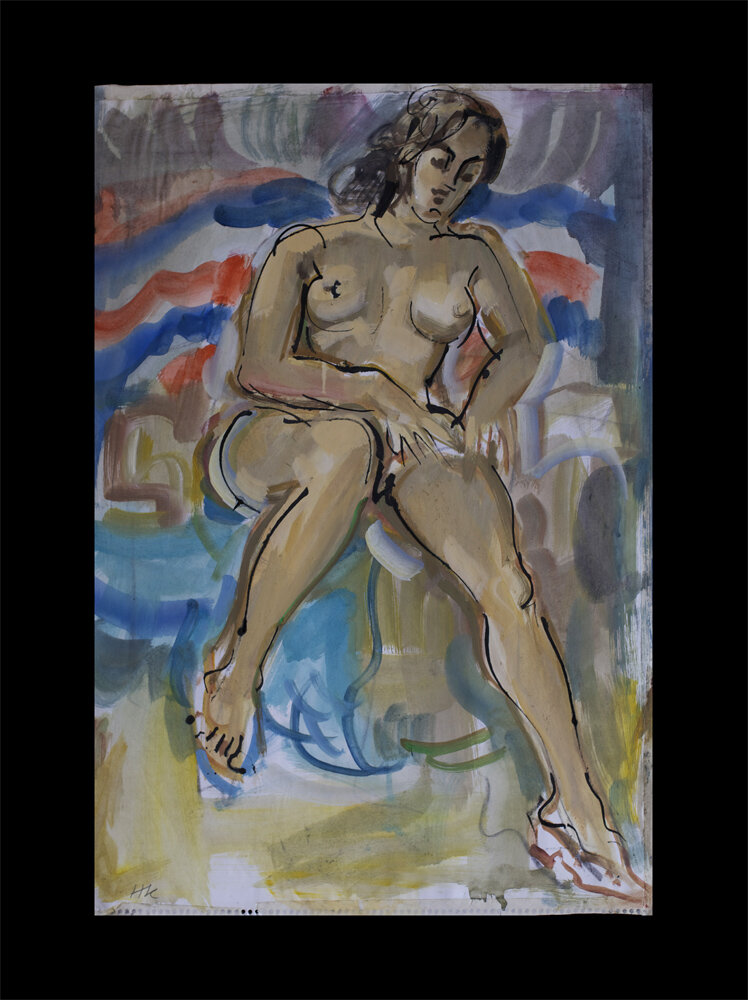 nude, bamboo pen and gouache on paper, front - back also painted, 1978, 59 x 41 cm 200 €