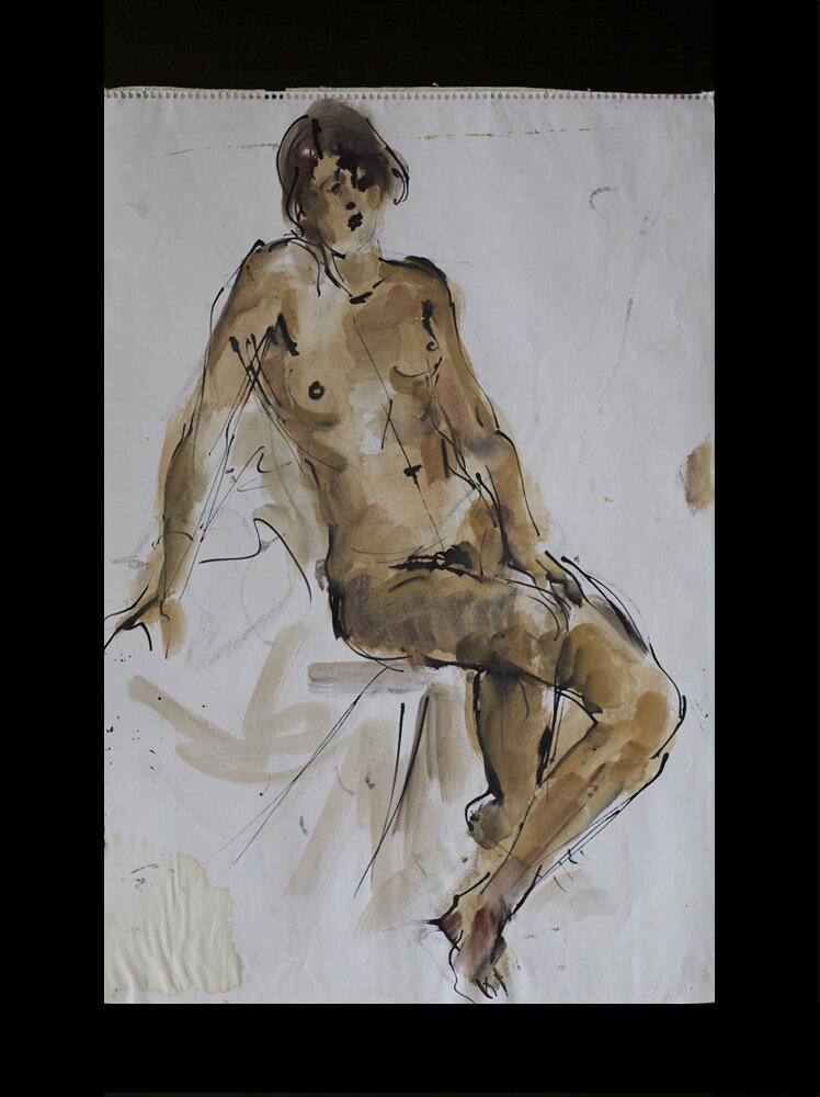 nude, bamboo pen and gouache on paper, back side - front also pained, 1978, 59 x 41 cm 200 €
