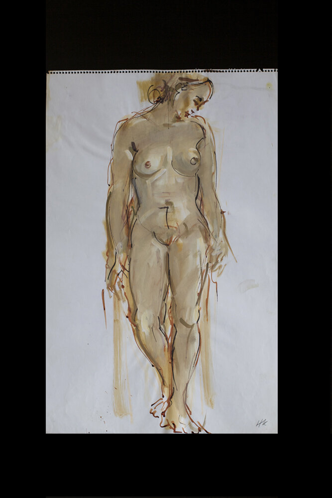 standing nude, bambo pen and gouache on paper, 1976, 58,5 x 37 cm, 200 €