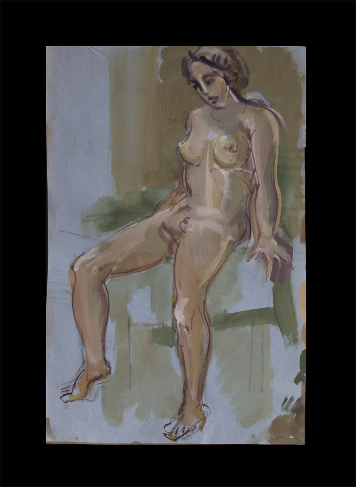 seatednude, bamboo pen and gouache on paper, 1978, 55,5 x 36 cm, 150 €