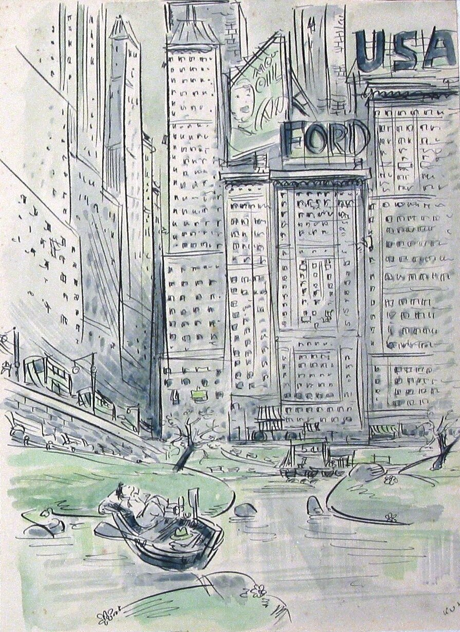 NY, central park, pen and ink 1930