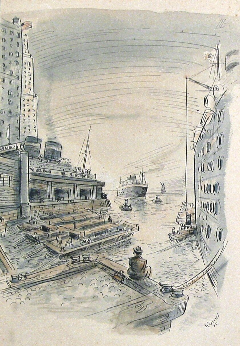 NY harbor, pen and ink, 1935