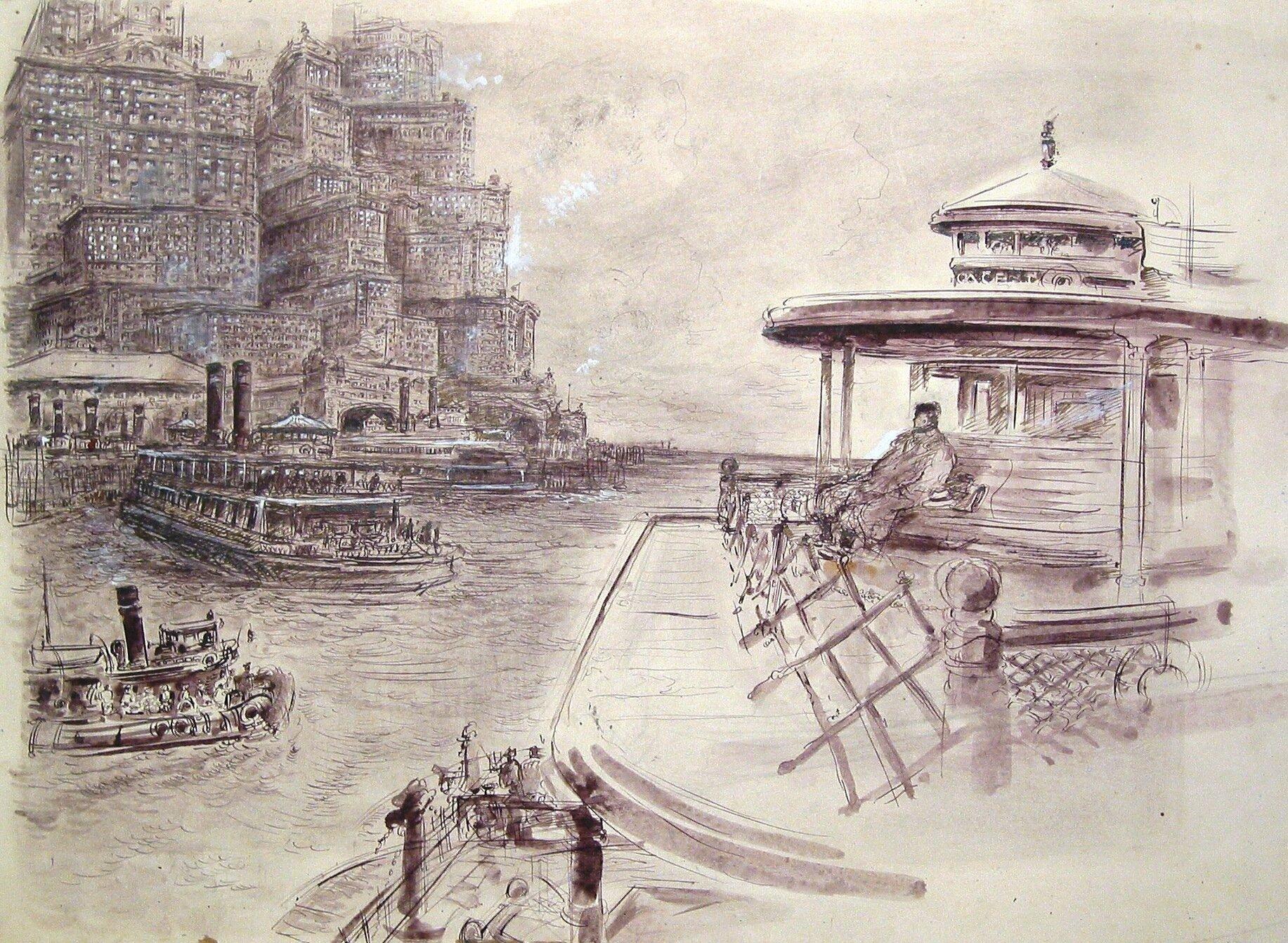 NY harbor, pen and ink 1930