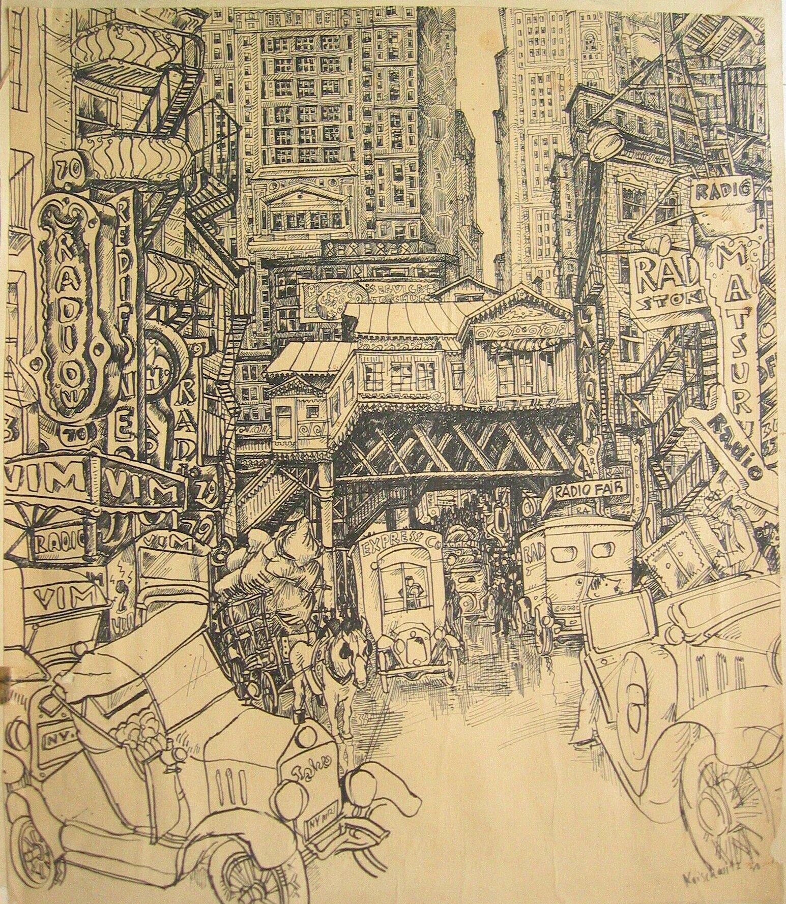 NY city pen and ink 1930