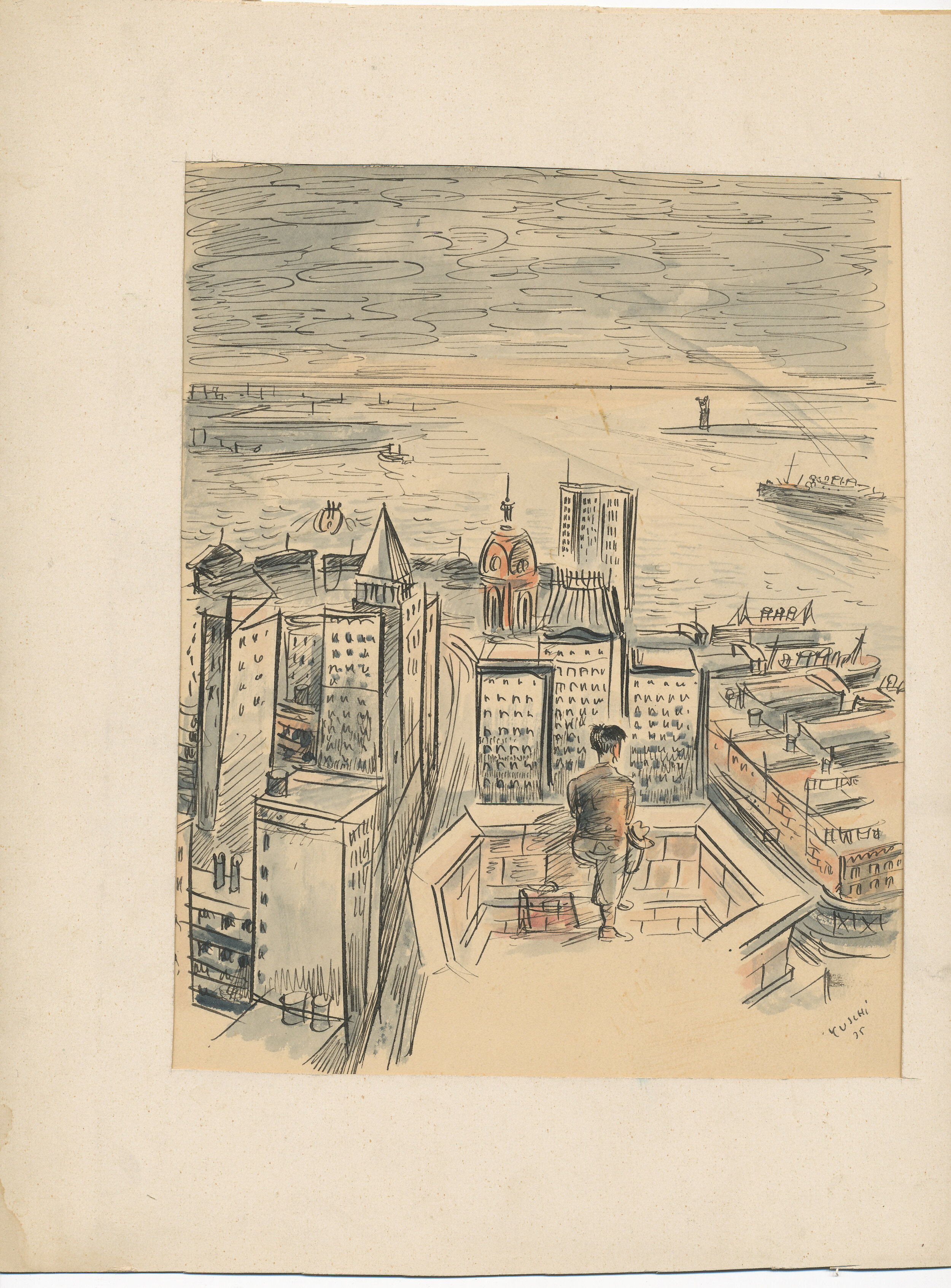 NY, pen and ink watercolour, 1935