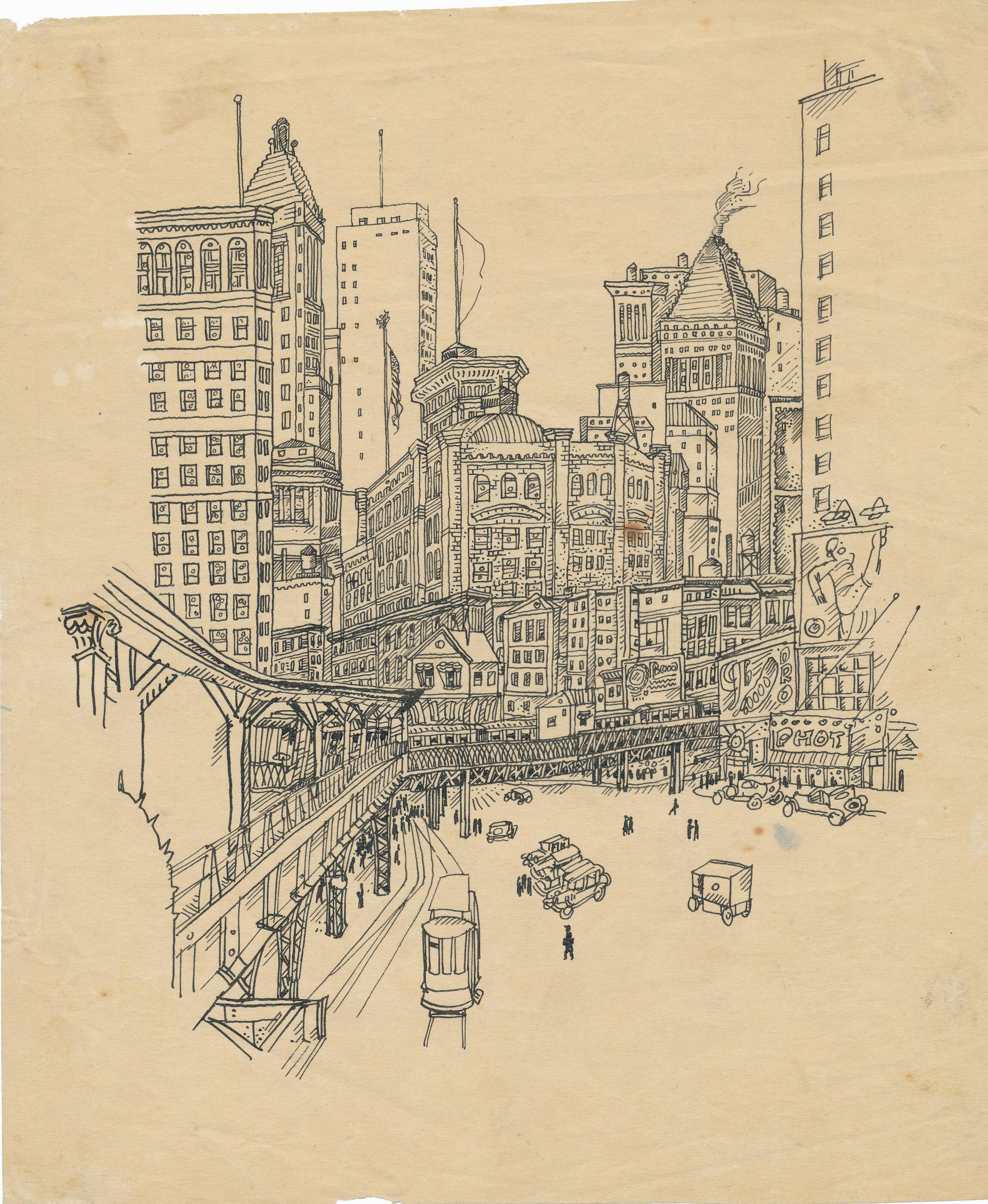 NY city, pen and ink 1930