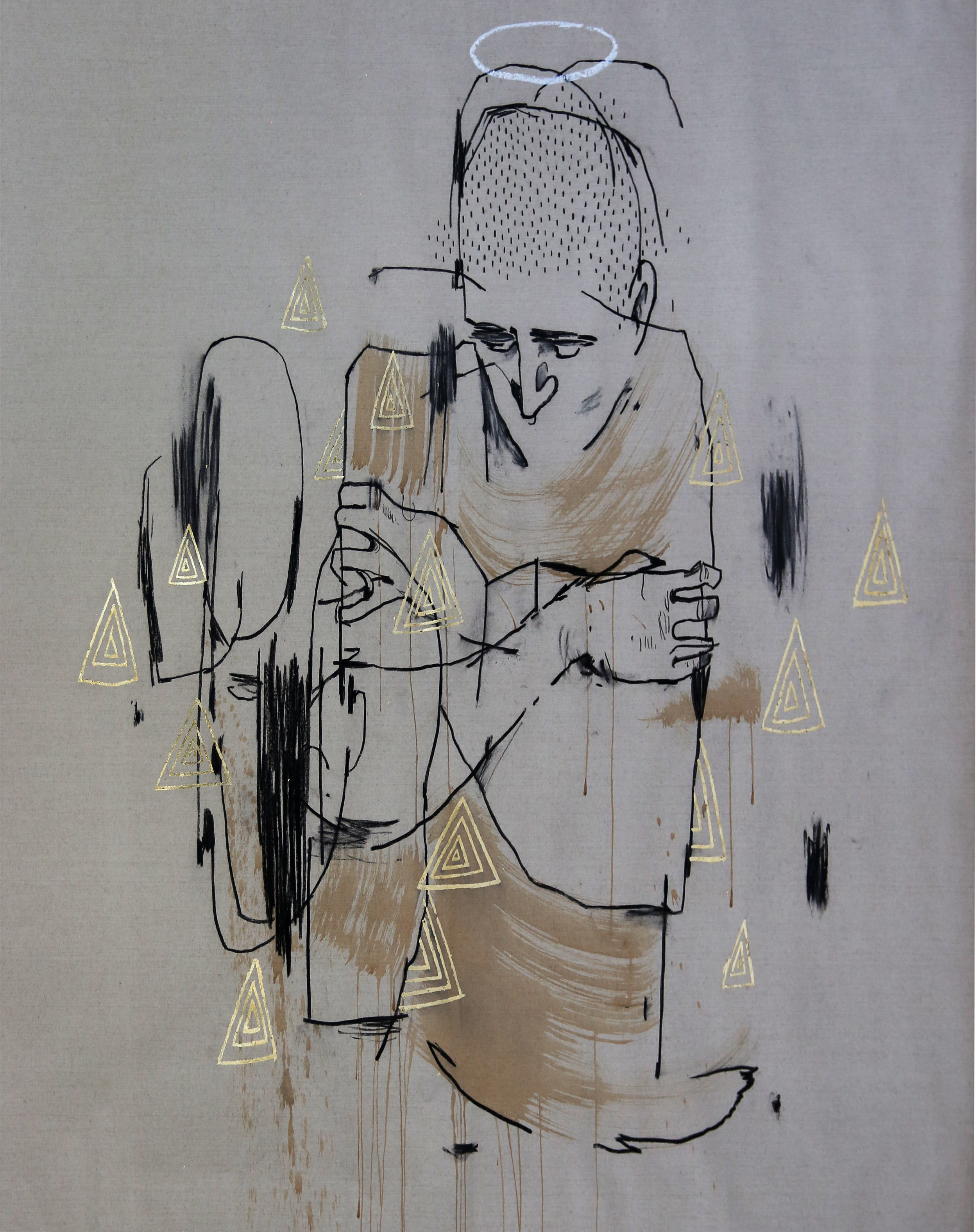 Word to Mother_Law of Attraction_Charcoal GoldLeaf OilBar TeaStain on RawLinen_150x150cm_2016.jpg