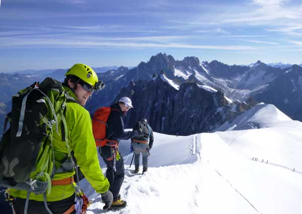Alpine apprentices on the Midi Arête -