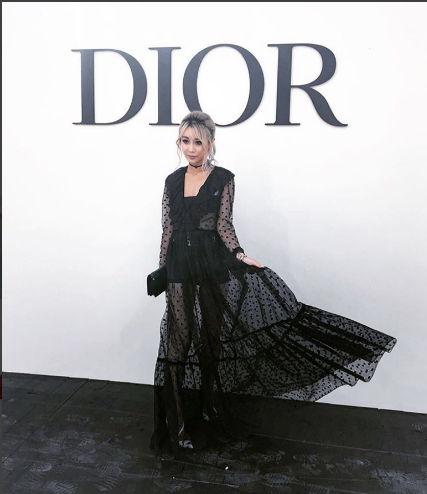 Wengie being photographed in a glamorous Dior gown