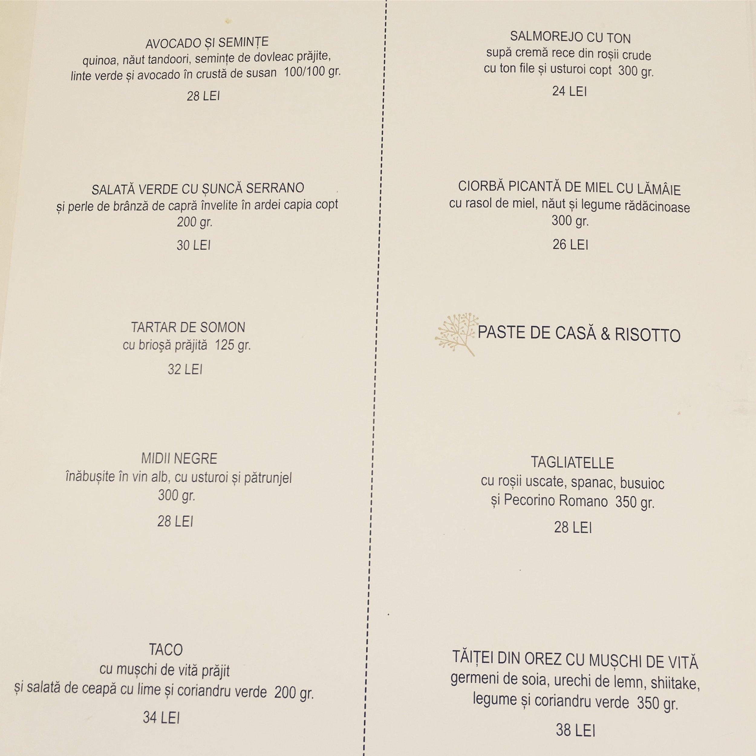 restaurant via cluj menu