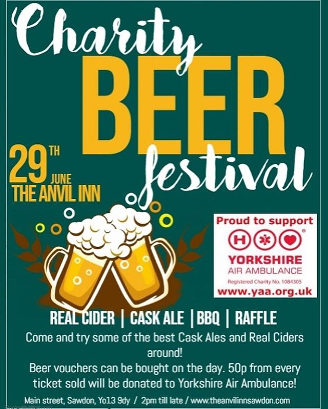 """Not long now till our Charity Beer Festival for Yorkshire Air Ambulance! We've got some amazing beers for you all to try from some of the best local breweries and cider makers such as North Riding Brewery, Brass Castle, Wold Top, Hedge Hoggers and more!  We've kindly received some amazing raffle prizes from Black Sheep, Daleside, Jorvik Viking Centre and more!  To make the event even better we have live music for you all from Steve, Stuart and Ian aka """"The Cycopaths"""". We can't wait for the day to come now and the beers are starting to pile up in the cellar (running out of room!!). We hope to see you all there!!"""