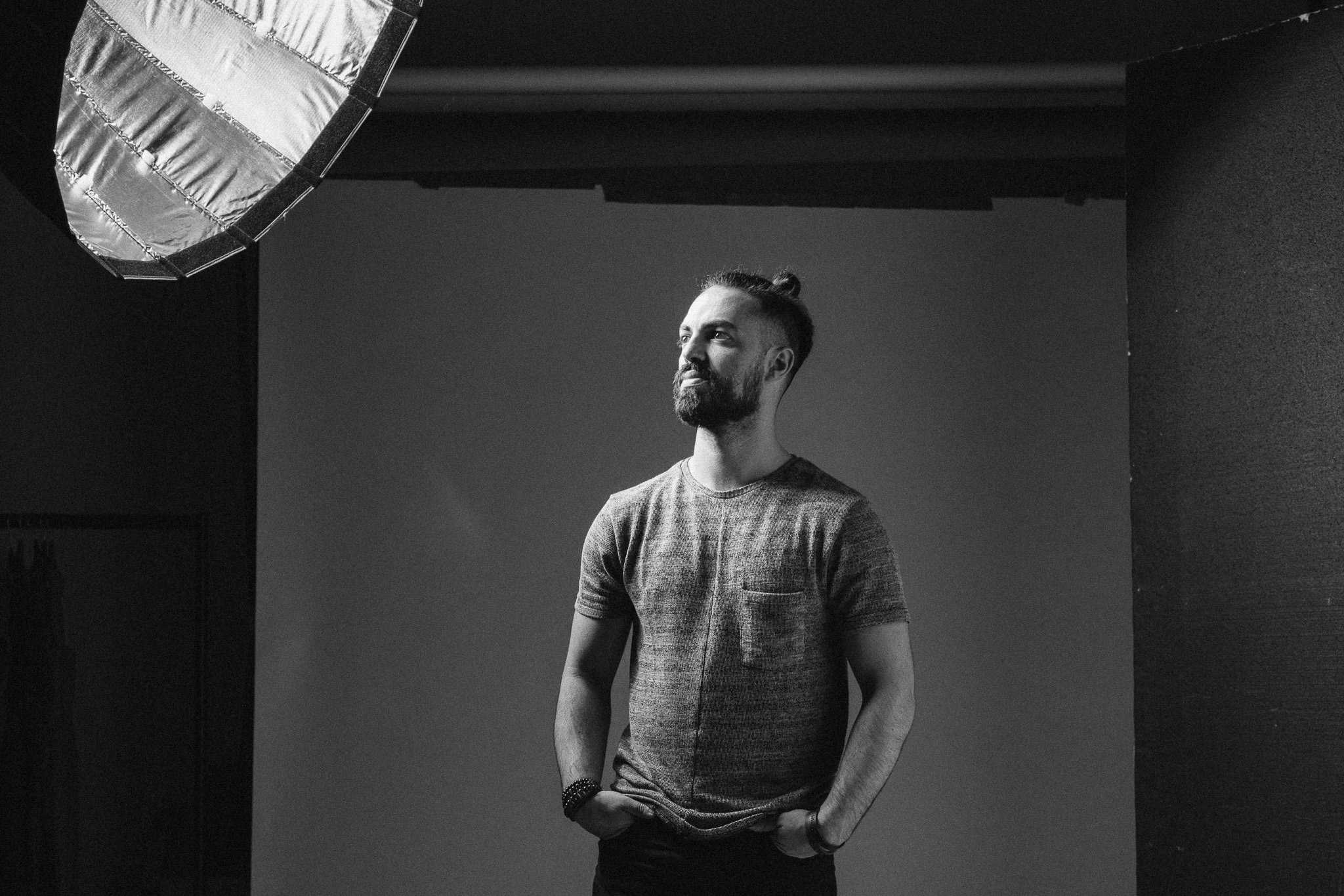 Thinking about something. Testing lights on set of new campaign for Organic Entity Triple Bill.