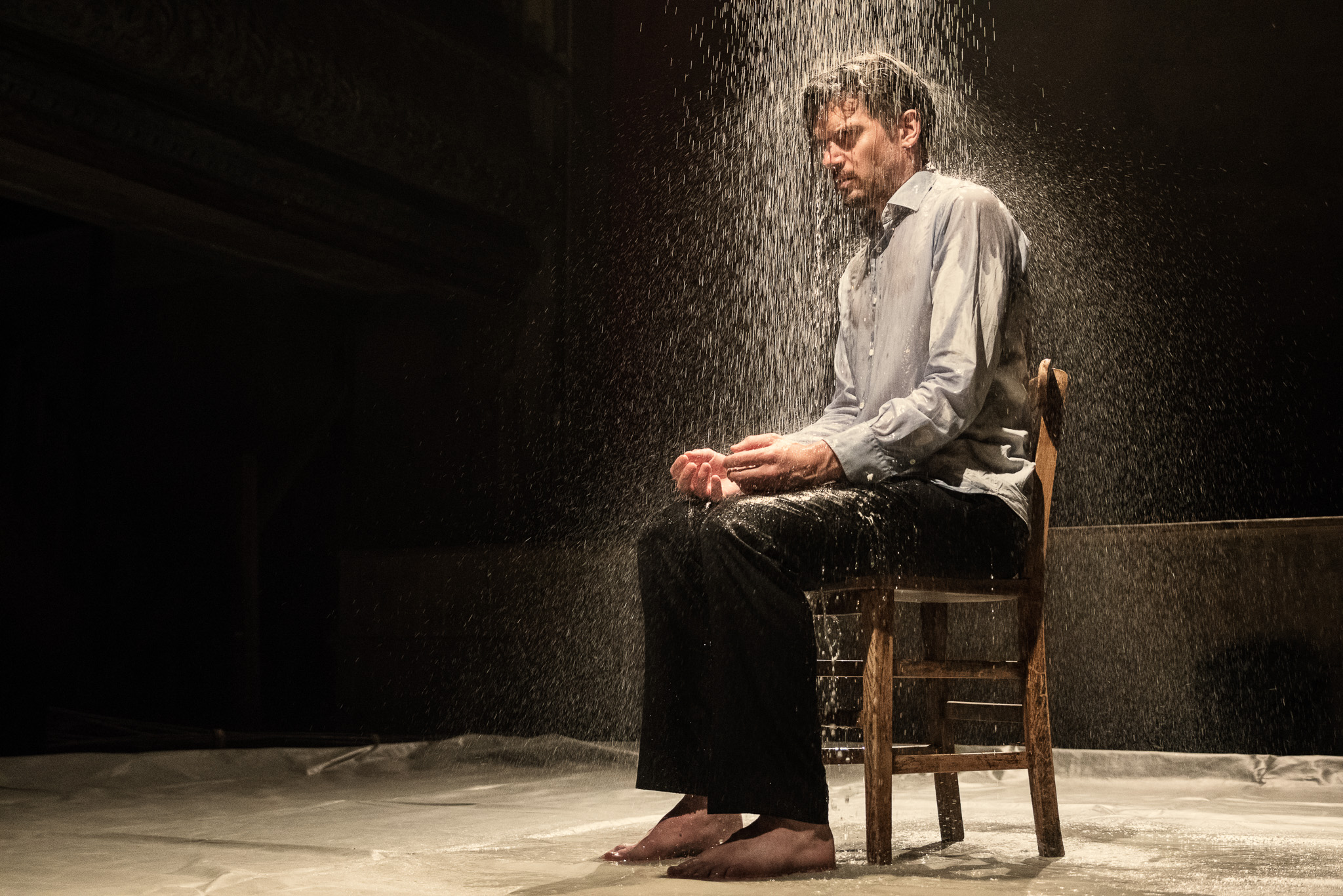 Ben fully playing his character. Thousands of litres of water to capture this image. No chance to repeat.