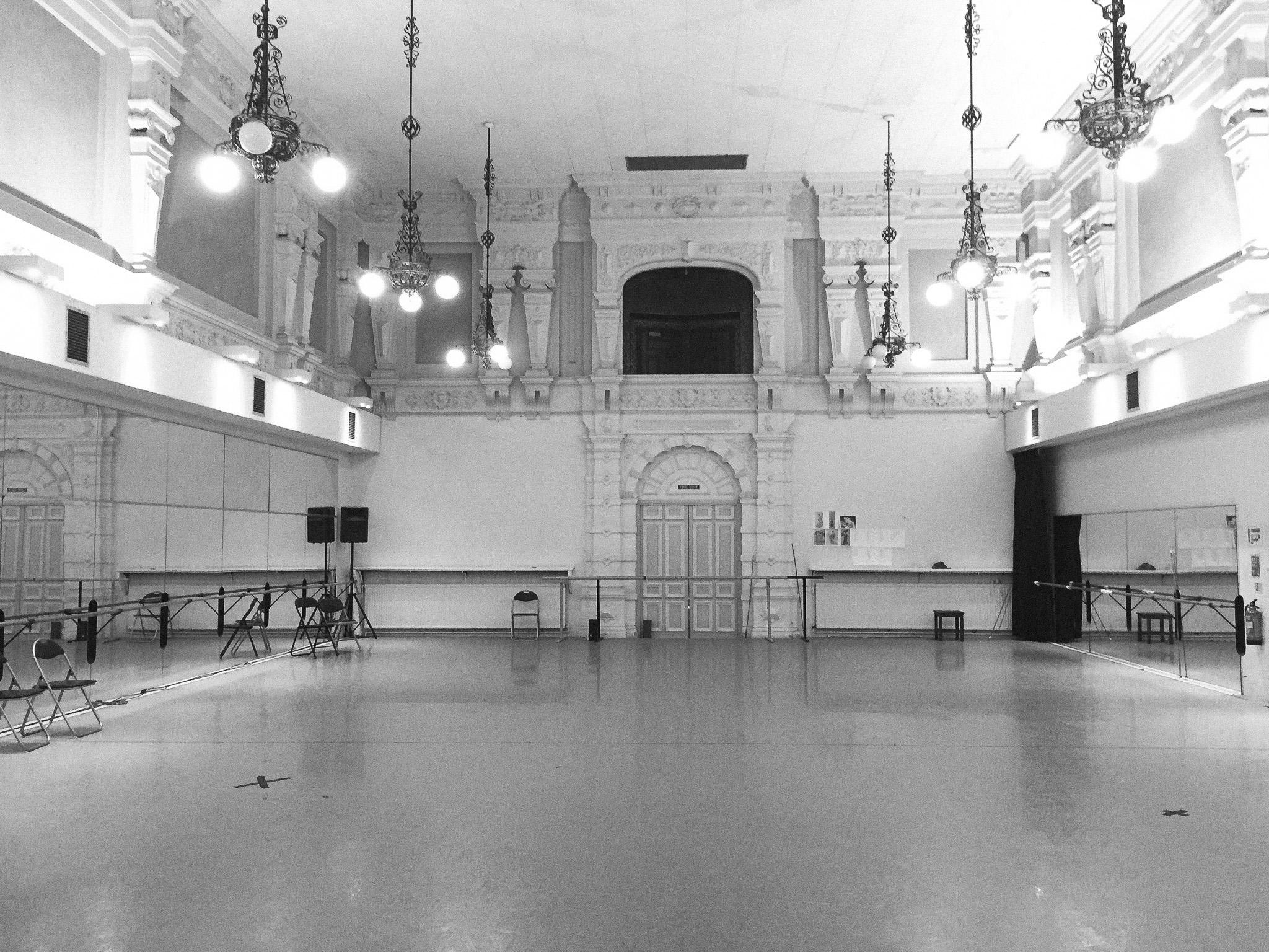 English National Ballet empty studio before the photoshoot.