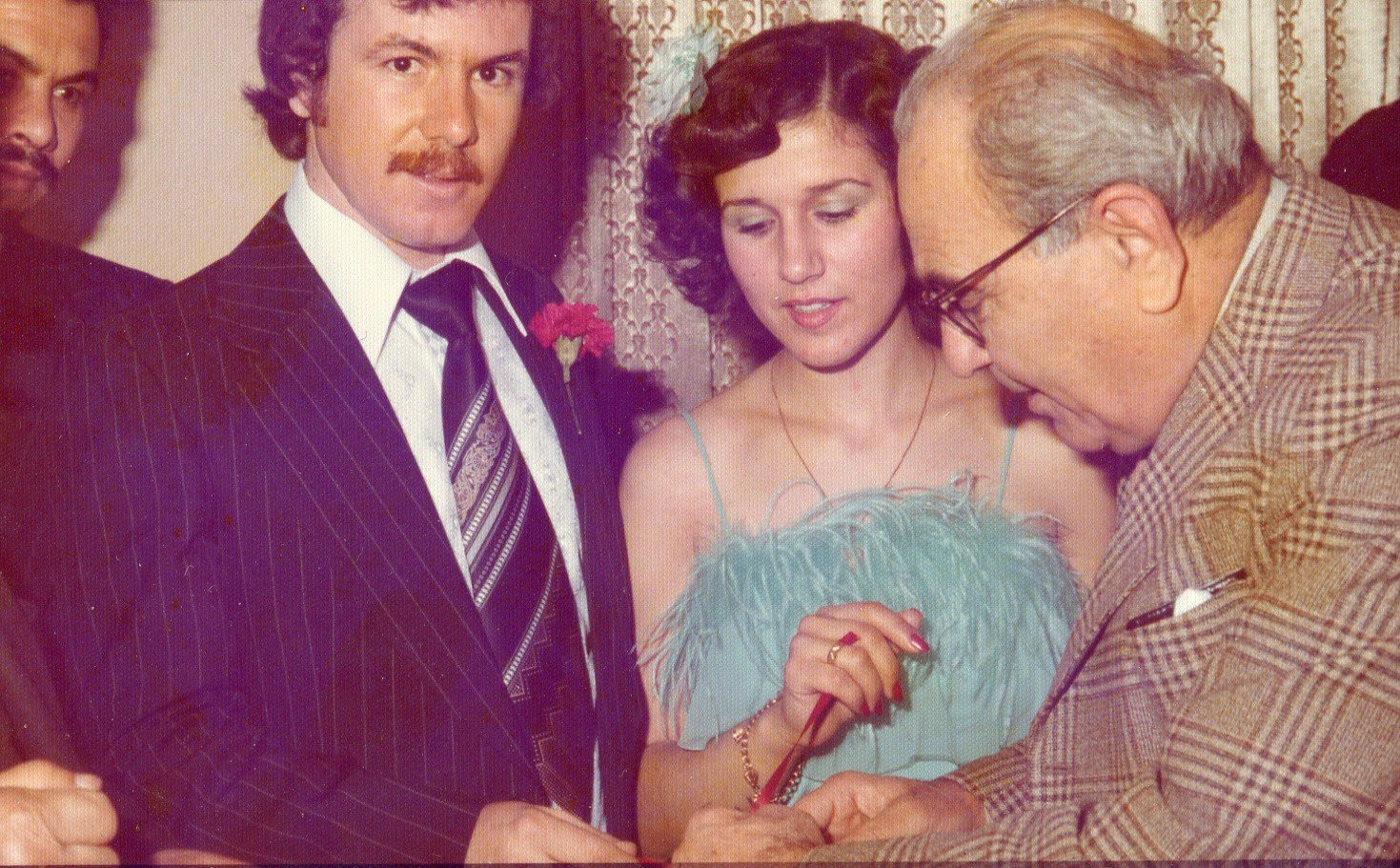 Mum and dad at their engagement party in London, 1977.