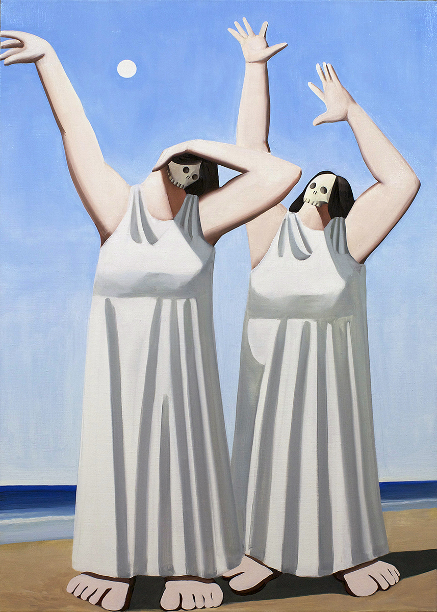 Tony Toscani, Women On The Beach, 2017, Oil on linen, 39 x 28 inches
