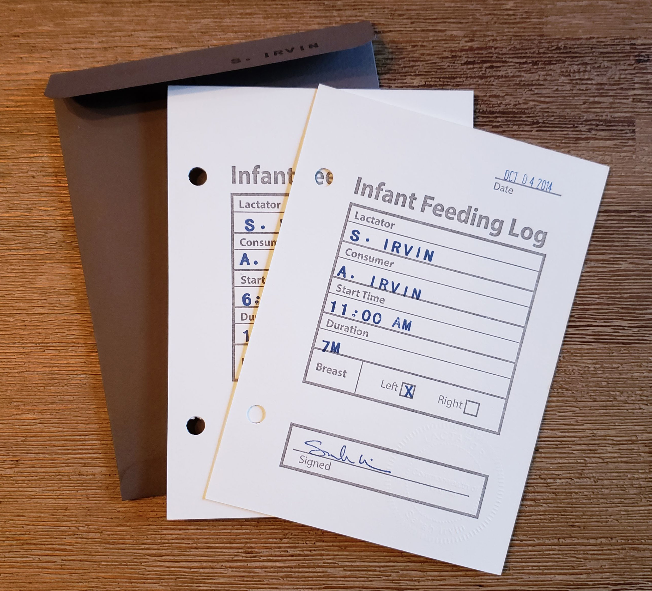 Sarah Irvin, Infant Feeding Log (10/4/2014 & 6/7/2015 sessions), 2018; Edition size: 23, Platen-pressed cards, hand-stamped archival ink, with artist envelope, 6.25 x 4.5 inches each