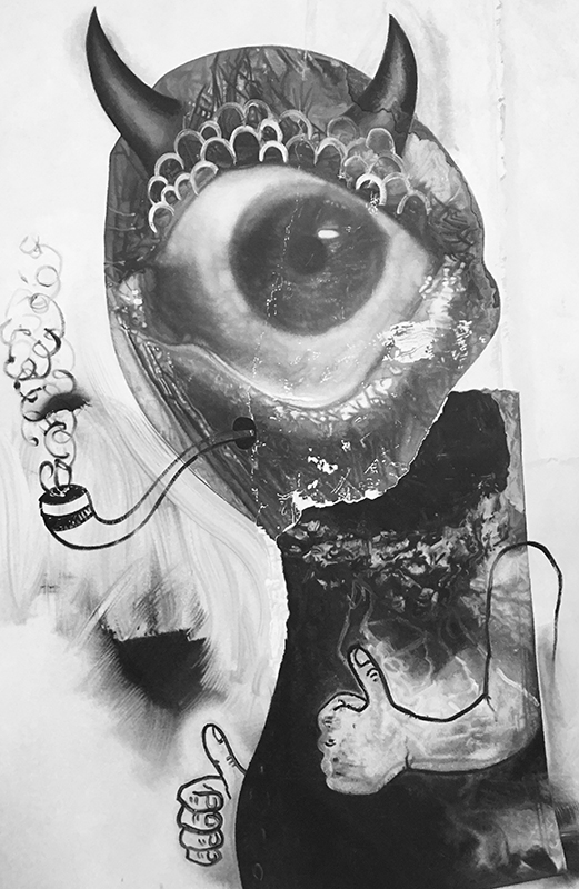Eric Helvie, Pipe Smoker (Cyclops), 2017, Oil on canvas, 72 x 48 inches