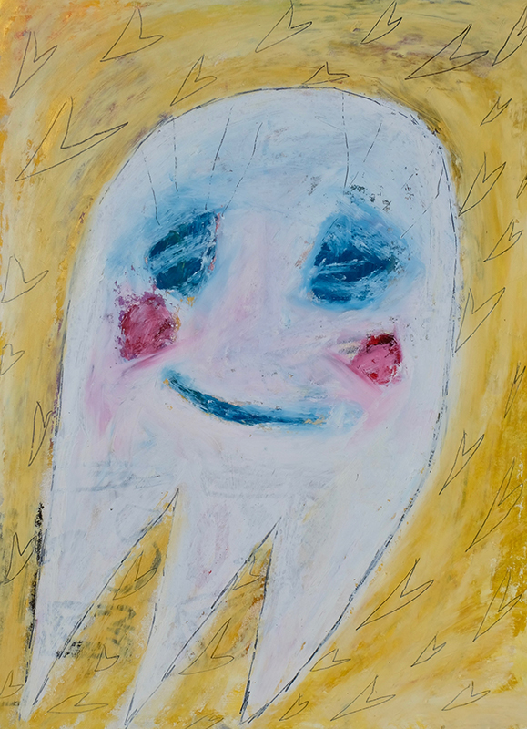 Adam Handler, But I love you ghost, 2018, Pencil and oil stick on paper, 28 x 20 inches, $1,000. USD