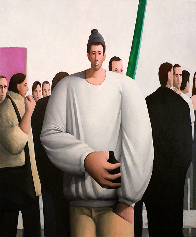 Tony Toscani, Social Anxiety, 2019, Oil on linen, 46 x 38 inches