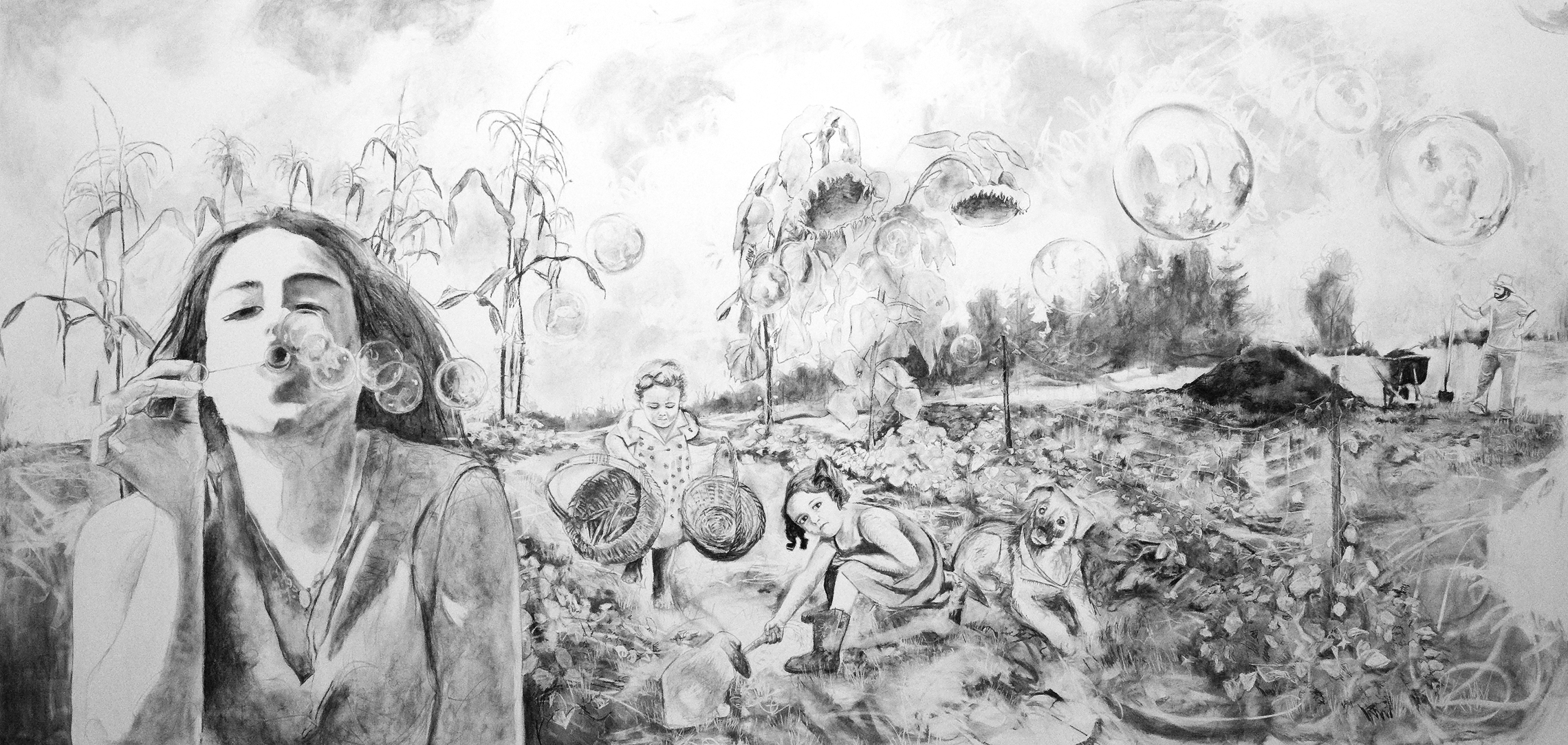 Love is a Garden , charcoal mural on the wall of Lord Hall Gallery, UMO, approx. 18x8ft.   visit page    >