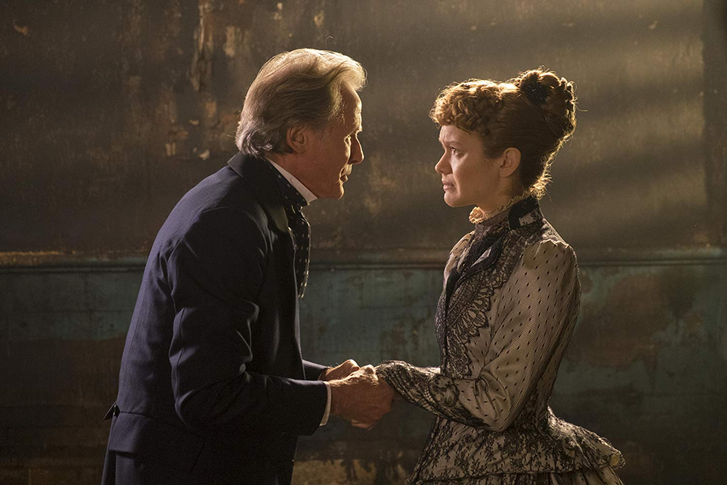 Bill Nighy and Olivia Cooke in The Limehouse Golem. Number 9 Films.
