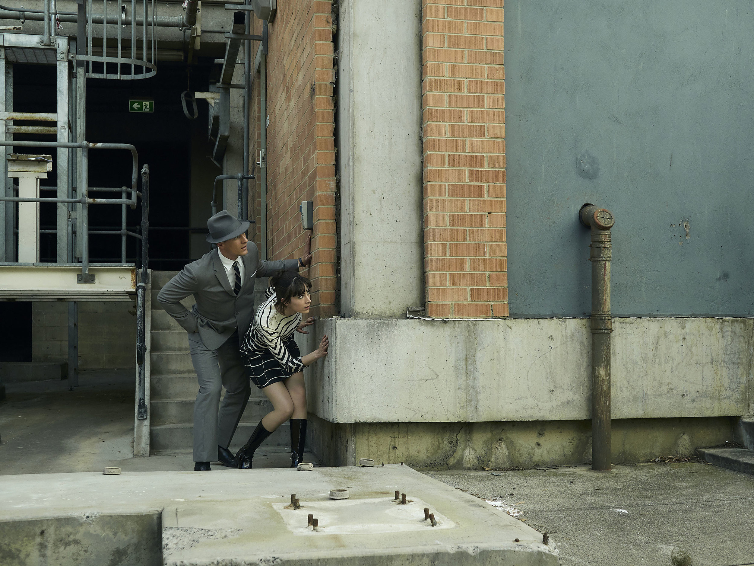 Joel Jackson as Detective James Steed and Geraldine Hakewill as Peregrine Fisher. ( Courtesy of Acorn TV )
