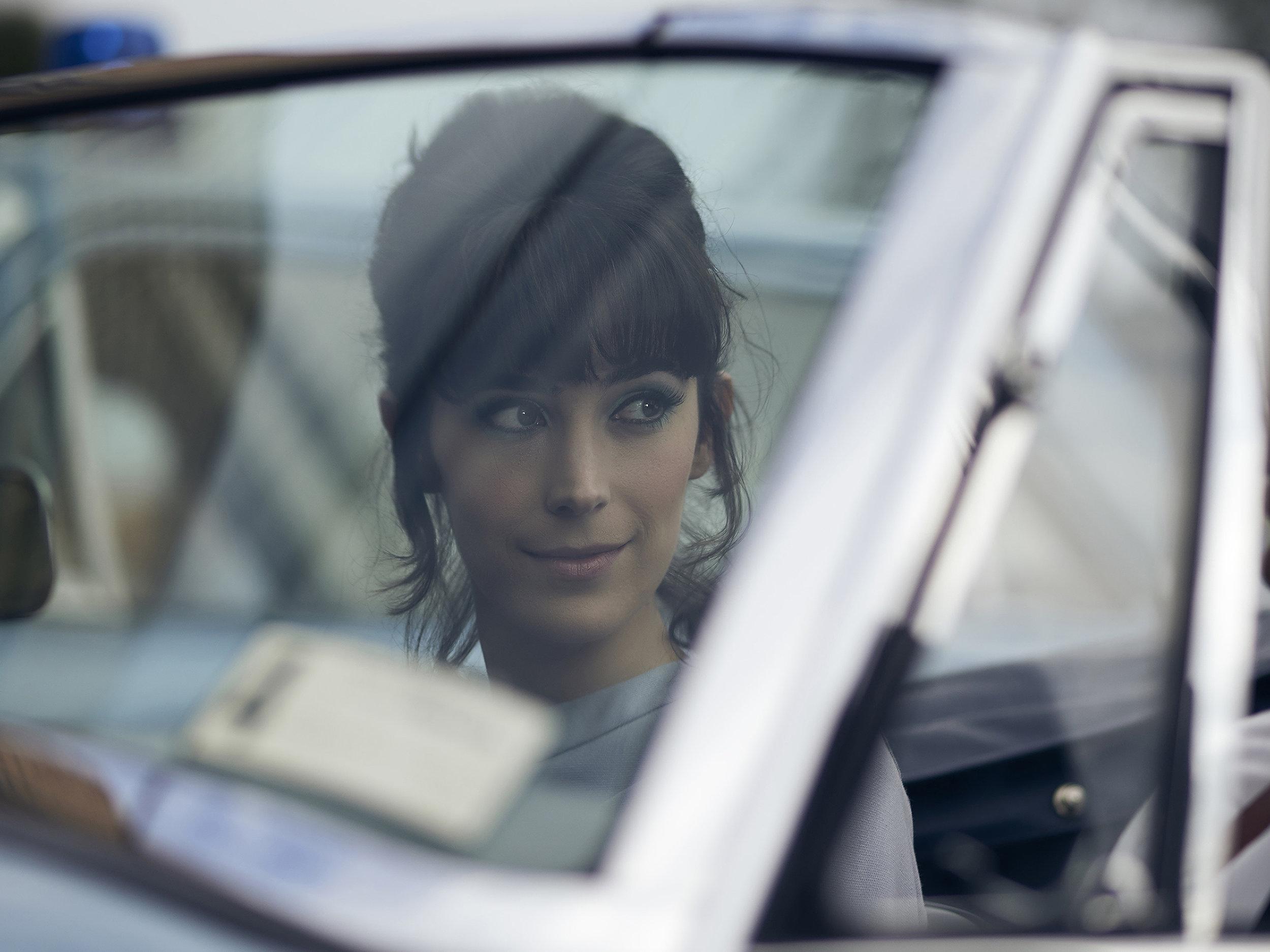 Geraldine Hakewill as Peregrine Fisher. ( Courtesy of Acorn TV )