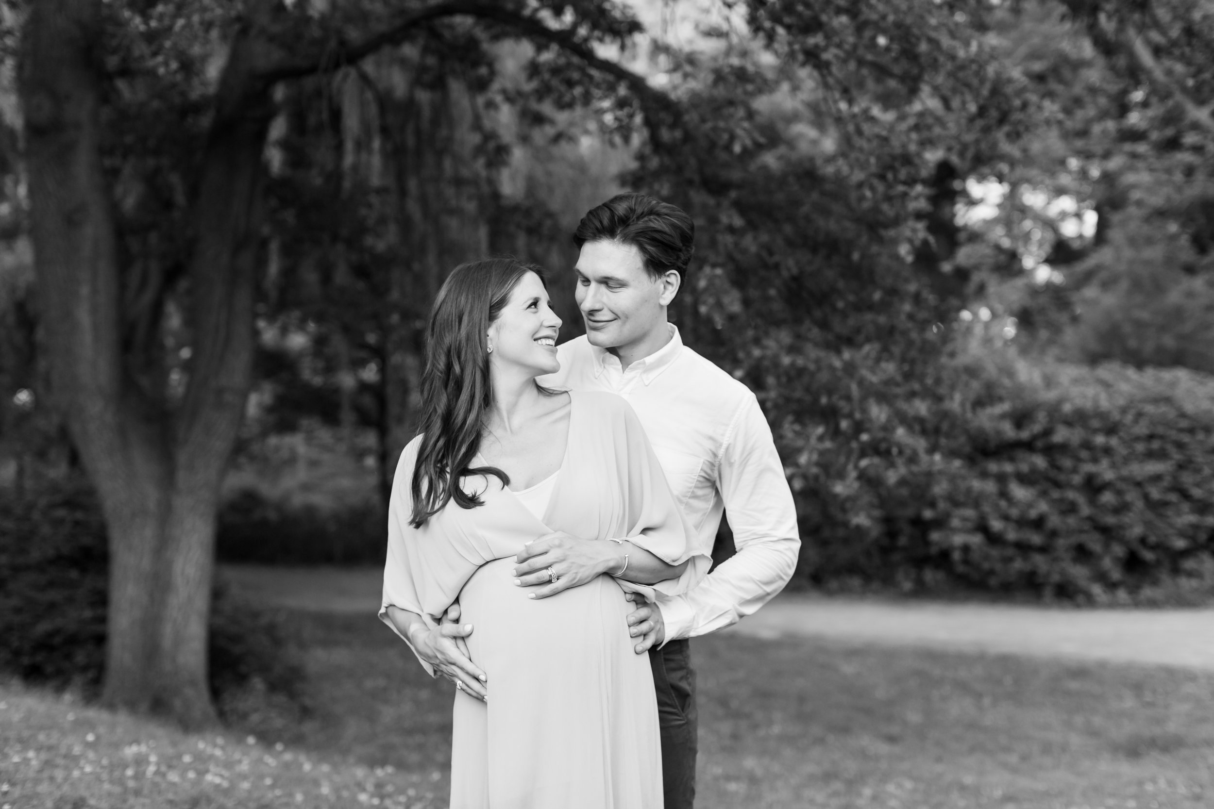 Black and White Maternity photograph in Central Park Manhattan NYC by Helene Stype