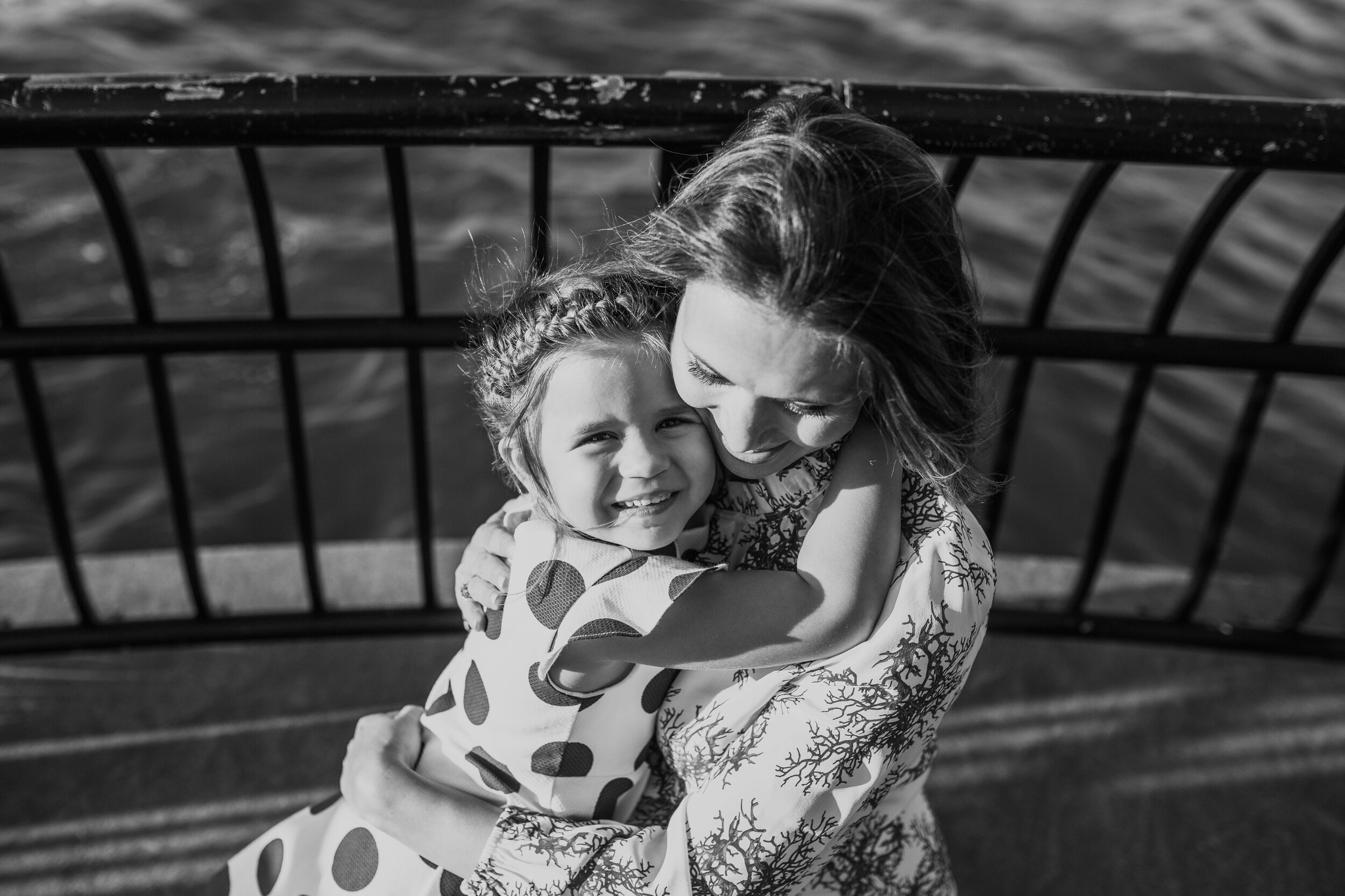black and white portrait of a mother and daughter in manhattan durong a family session with Helene stype