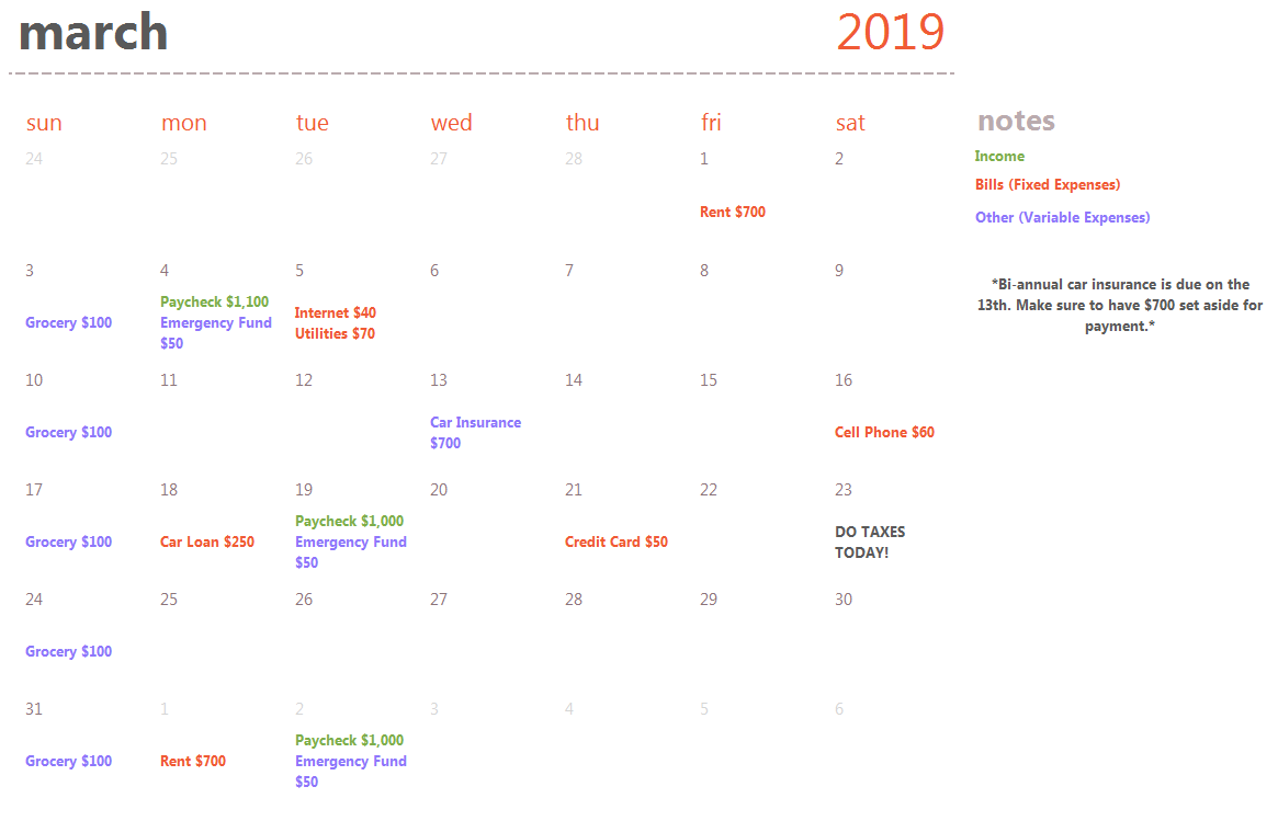 Here is an example of what a completed financial calendar should look like using our template.