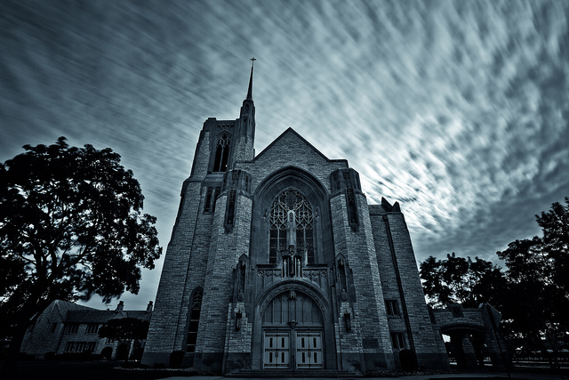 Front façade of Queen of All Saints Basilica in Chicago. Photo by  mambol .