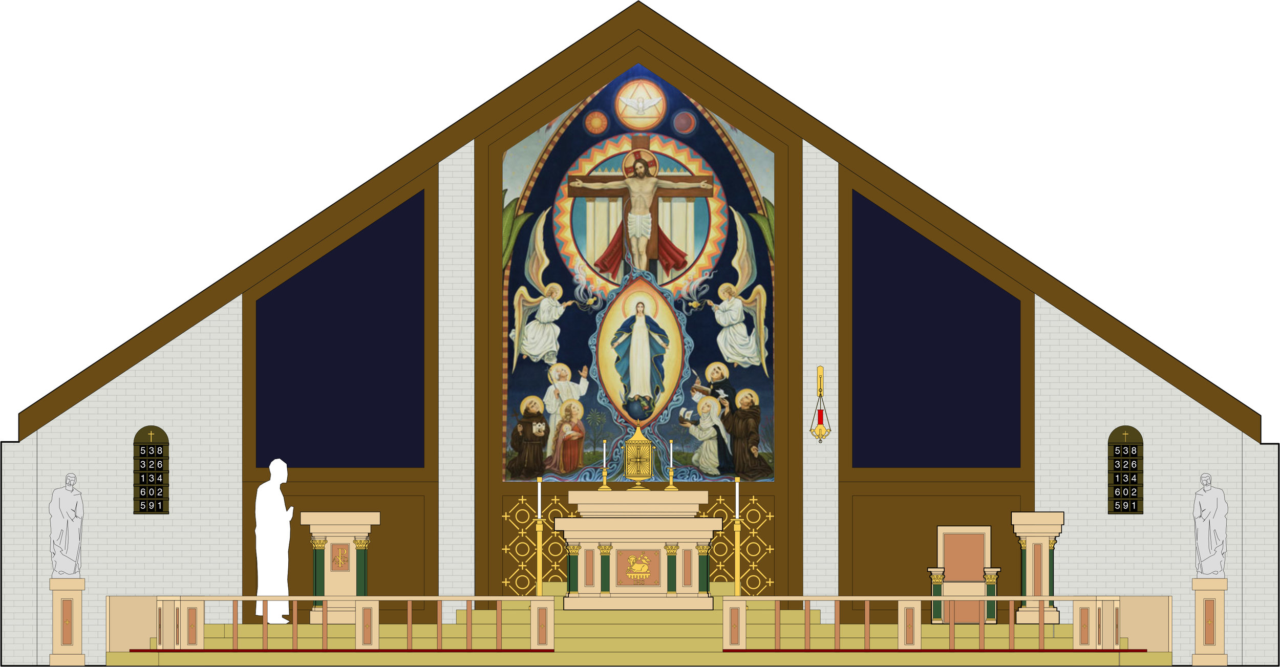 Conceptual proposal for a church renovation in west Texas. Mural courtesy of  New Jerusalem Studios .