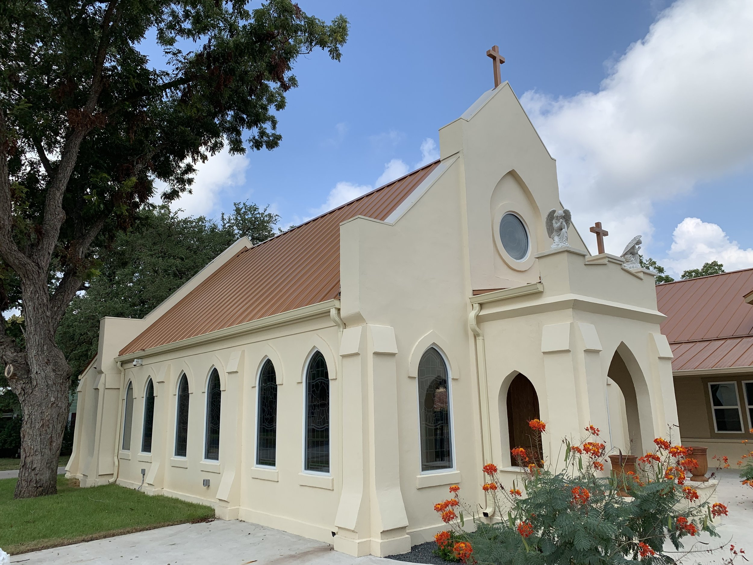 St. Paul Catholic Church, Smithville TX New historically-inspired Day Chapel,  with JGA/FGM Architects. Completed June 2019.