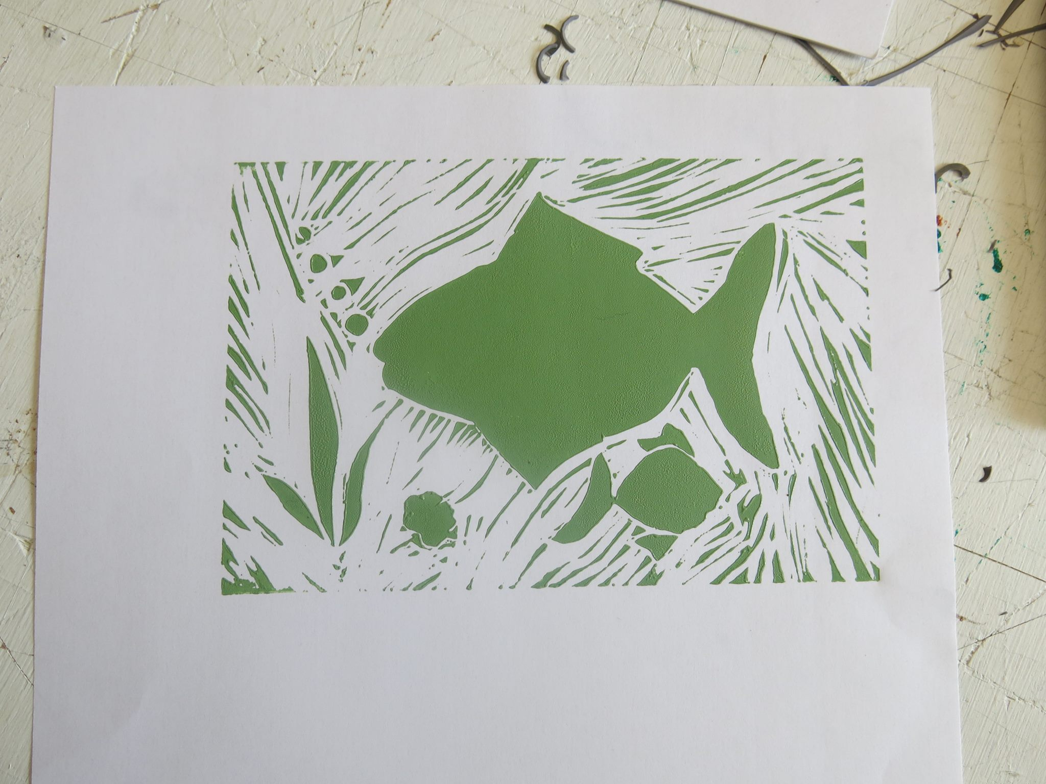 Green fish lino print at The White House