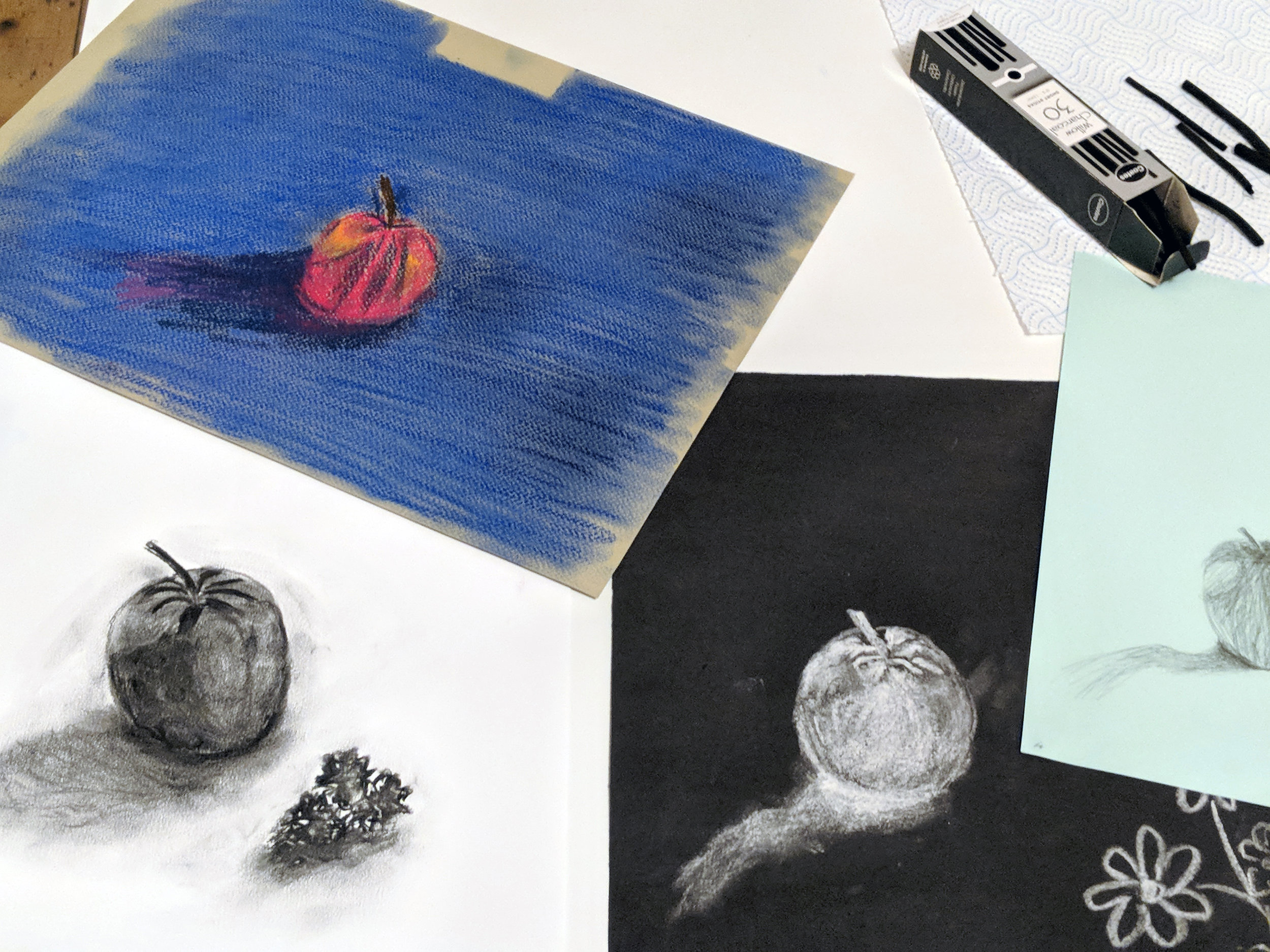 Still life work from the Pastels & Pencils Workshop