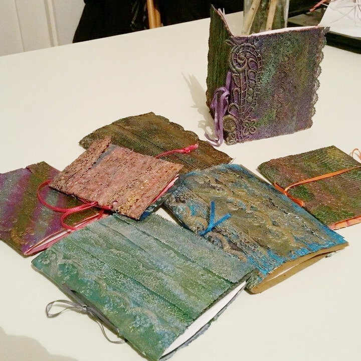 Lacy books made at the Textiles Workshop at The White House