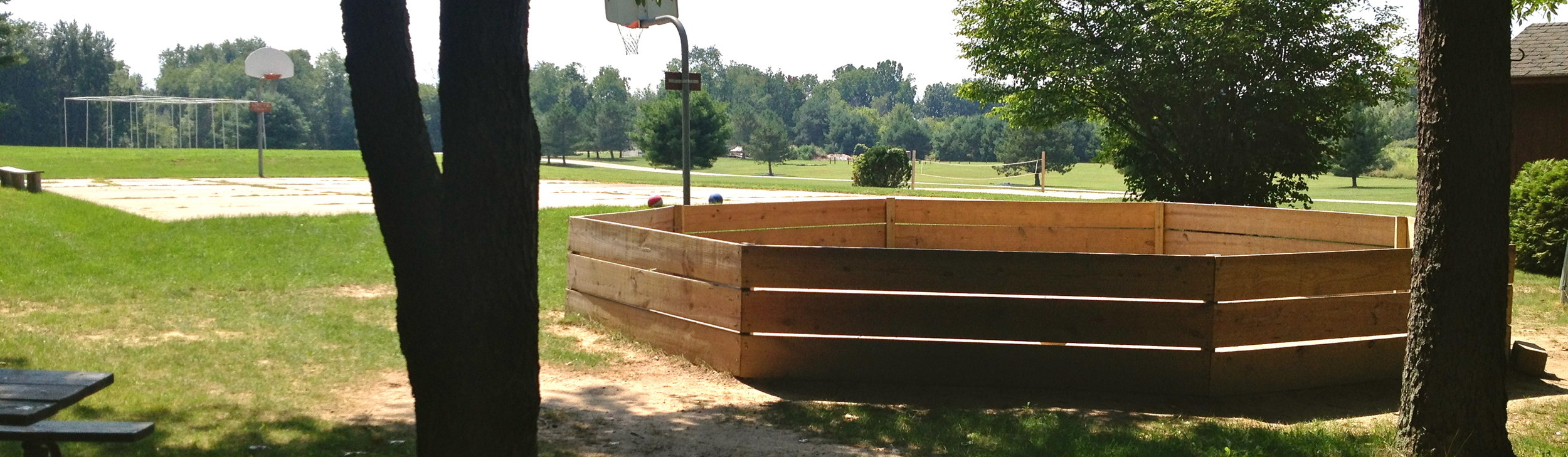 Gaga Ball, Basketball, and 9 Square In the Air are a few of many games and activities we have avialable for your group.