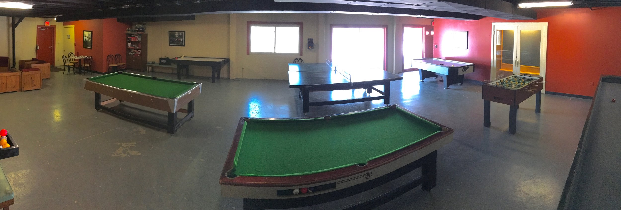 The Game Room in the basement of the Retreat Center.