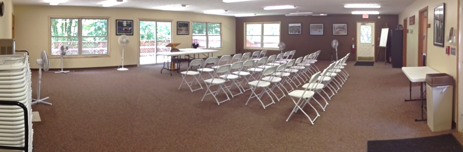 Here's a look at how one of our groups had the room arranged. We can set it up however you desire, with up to 100 chair and 10 tables available.