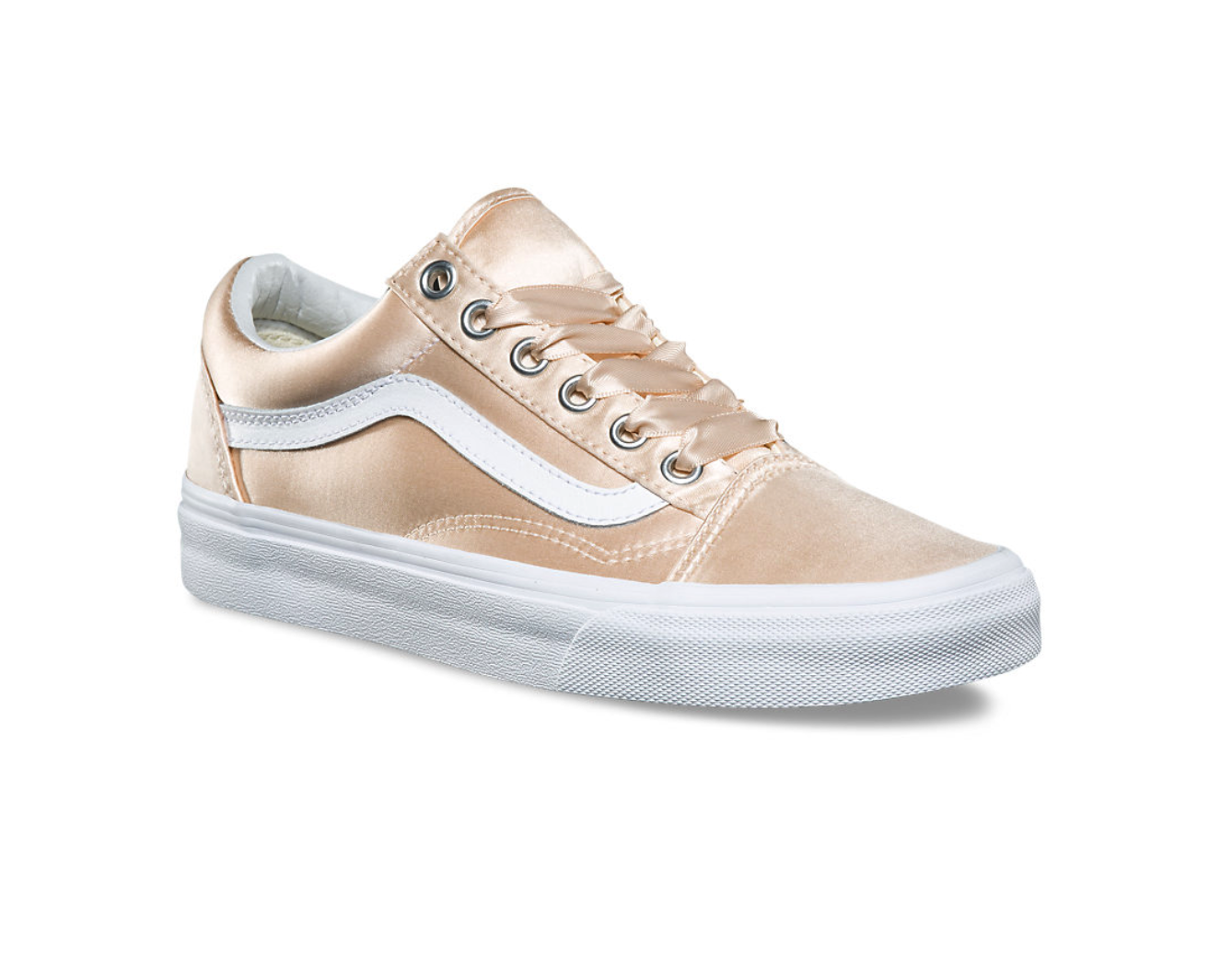 "Vans Satin Lux Old Skool in ""Blush/True White"" $70, Vans.com"