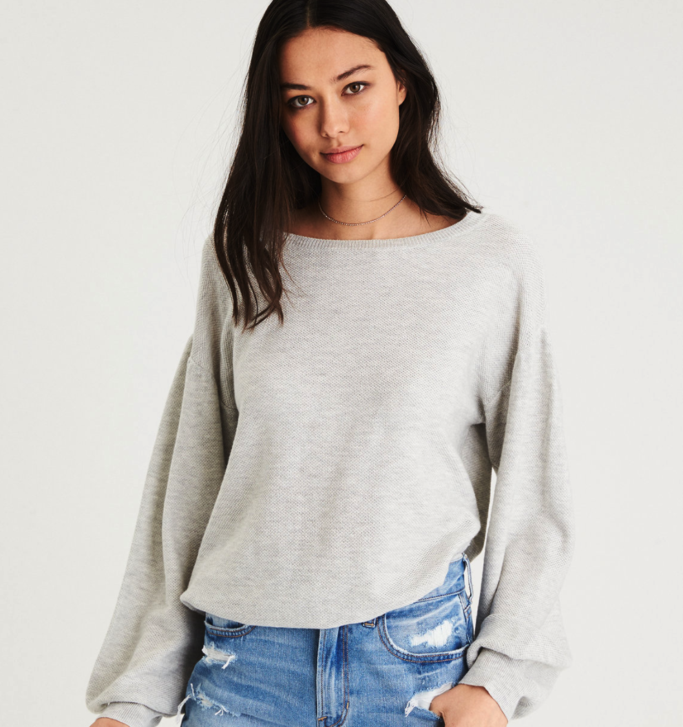 AE Textured Balloon Sleeve Sweater $45, AE.com