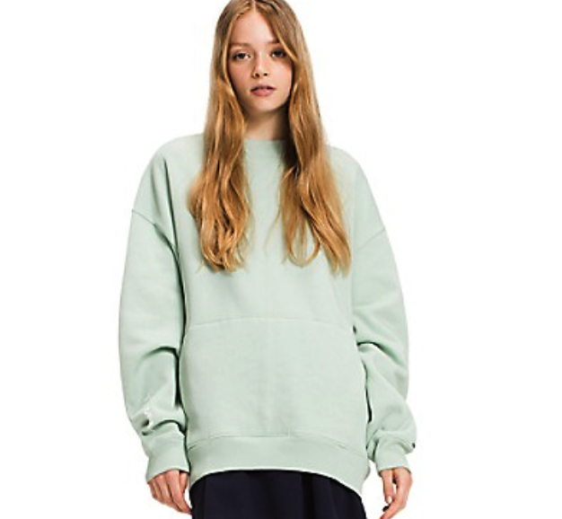 "Crewneck Sweatshirt in ""Aqua Foam"" $100, USATommy.com"